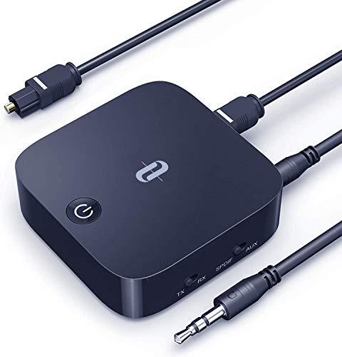 TaoTronics Bluetooth Adapter Transmitter Empfänger 2 in 1 Bluetooth 5.0 für TV PC Laptop Stereoanlage Kopfhörer Lautsprecher Digitale TOSLINK/RCA/3,5 mm AUX Kabel,aptX LL,Geringe Verzögerung