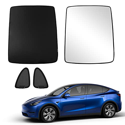 Bomely Fit Tesla Model Y Sunshade Glass Roof Skylight Curtain Sunroof Foldable Window Mesh Encryption Sun Shade Upgrade Two-Layer UV Protection for Model Y Accessories (Black, Model Y)