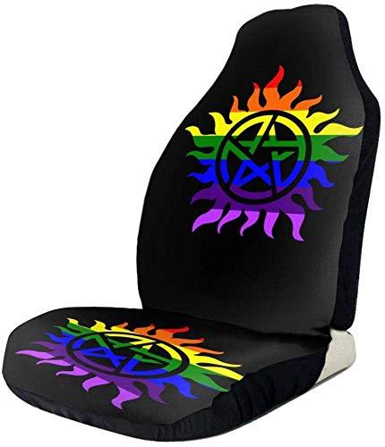 ZT-shop Sport-Fan-Abdeckungen Supernatural Gay Pride-Auto-Frontabdeckungen für Frauen Satz von Passform für die meisten Fahrzeuge, Autos, Limousinen, LKWs, SUVs, Lieferwagen, wie abgebildet, 1 STÜCK