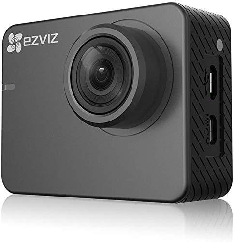 Ezviz S2 Dual Mode Sport & Dash Camera, Full HD, 8 MP, WiFi, BLE 4.0, supporta MicroSD fino a 256GB, custodia waterproof e accessori inclusi, Grigio