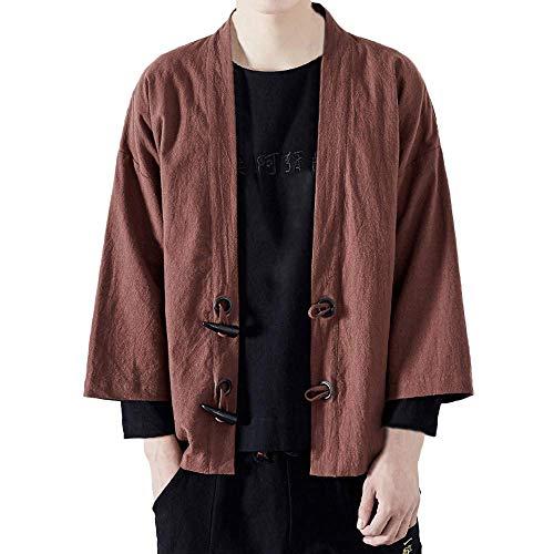 Moda Uomo Cappotto Yukata Cotone Giapponese Capispalla Kimono Casual Moderna Vintage Sciolto Top Casual Allentato Giacca Casual in Cotone E Lino Giacca a Maniche a Sette Quarti Maniche Lunghe