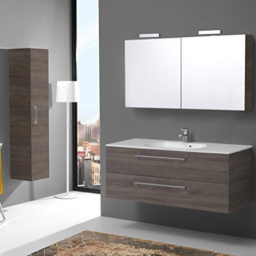 KIAMAMI VALENTINA Badezimmerschrank 120 cm mit 2 Schubläden TRÜFFEL, Spiegelschrank mit Licht