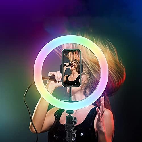10'' RGB Anillo de Luz LED Regulables Aro de Luz con Trípode Selfie Ring Light con 15 Modos de Color RGB 7 Modos de Flash 9 Niveles de Brillo, para Youtube, Maquillaje, Fotografía, Tiktok, Vlogging