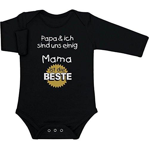 Mutter Geschenk - Papa & ich sind Uns einig Mama ist die Beste Baby Langarm Body 0-3 Monate Schwarz