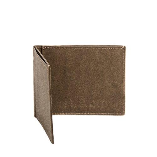 FRITZVOLD MINIMAL Wallet, RFID-Schutz & Münzfach, kleines, dünnes Portemonnaie für Damen & Herren, extrem Flacher Geldbeutel, Slim Portmonee, Geldbörse aus waschbarem Papier-Kunstleder, braun
