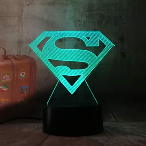 Coole DC Justice League Superman Logo Symbol 3D LED Nachtlicht Taschenlampe USB RGB 7 Farbwechsel Schreibtisch Tischlampe Kinderspielzeug