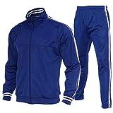 R RAMBLER 1985 Men Activewear Tracksuit Side Stripe zipper Jacket Jogging Athletic Suit Casual Sweatsuit(Royal Blue,M)