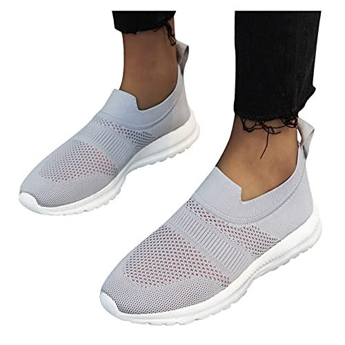 FeelFree+ Mujer zapatillas deporte de corte bajo Moda Zapatos casuales punto voladoras tejidas con mosca Ligero transpirable bajas color sólido moda Shoes Correr al aire libre Tallas grandes