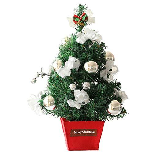 QPALZM Mini árbol De Navidad: árbol De Navidad Pequeño Hecho A Mano, Navidad, árbol De Decoración De Escritorio, para La Barra De Compras De La Oficina En Casa (Altura 45 Cm)(Color:Plata)