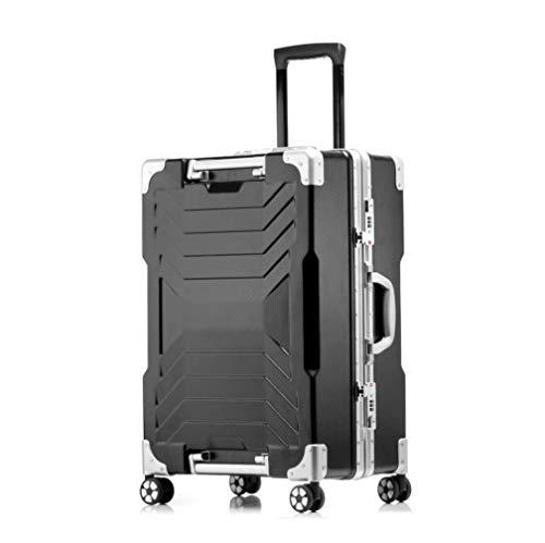 WSJ Telaio in Alluminio Viaggio Business Trolley Caso, Silent Caster, Valigia Impermeabile, Grande capacità, archiviazione ragionevole, 20-inch Boarding, antifurto Box,Black