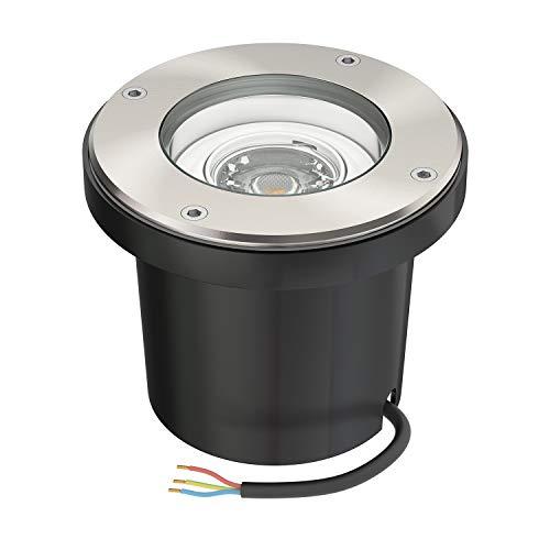 ledscom.de Boden-Einbauleuchte BOFU für außen schwenkbar Edelstahl rund IP67 150mm Ø inkl. 5.8W LED Lampe =60W 450lm 30° warmweiß