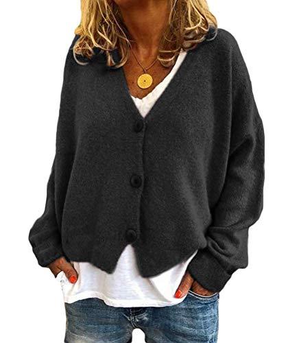 Onsoyours Gilet Cardigan Femmes avec Capuche Veste en Tricot Chaud Hiver Pull Tricoté Casual Bouton Gilet Grosse Maille Outwear Blouson Chandail Sweater Outwear B Noir M
