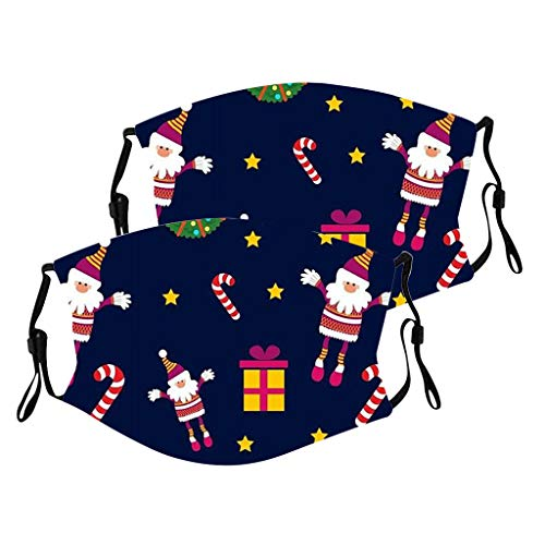 QAQQQQ 2PC Reusable Face_Covering for Child Christmas Santa Claus Print Bandanas Washable Outdoor Face_Mask for Women