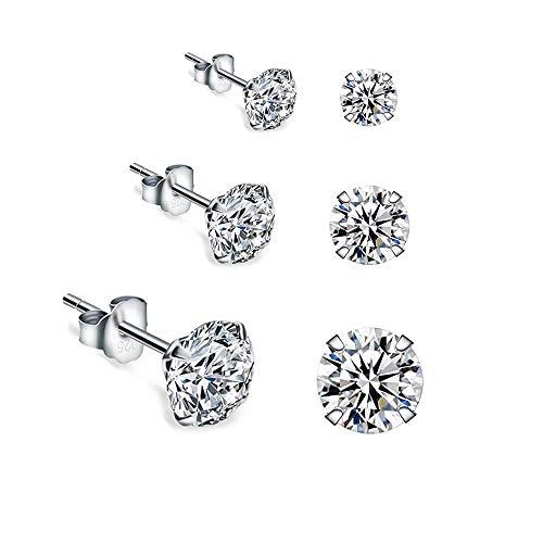 Fu You Damen Ohrringe 925 Sterling Silber Ohrstecker mit Zirkonia 3 Paare in 4mm 6mm 8mm Ohrringe Stecker für Damen Herren Mädchen