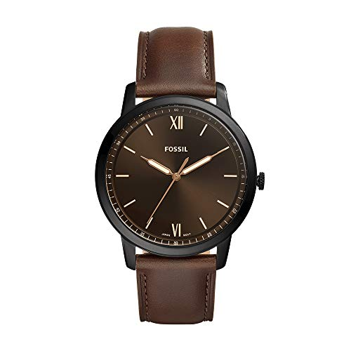 Fossil Men's The Minimalist 3H Stainless Steel Quartz Watch with Leather Strap, Brown, 22 (Model: FS5551)