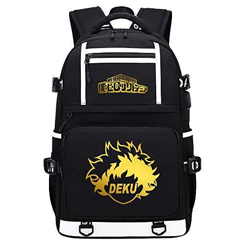 BOBD-DW My Hero Academia Mochila Hombre para Laptop Mochila Mujer Sling Bag, Bolsa De Pecho con Puerto De Carga USB Mochila Sin Palabras Dorada 48X30X15CM
