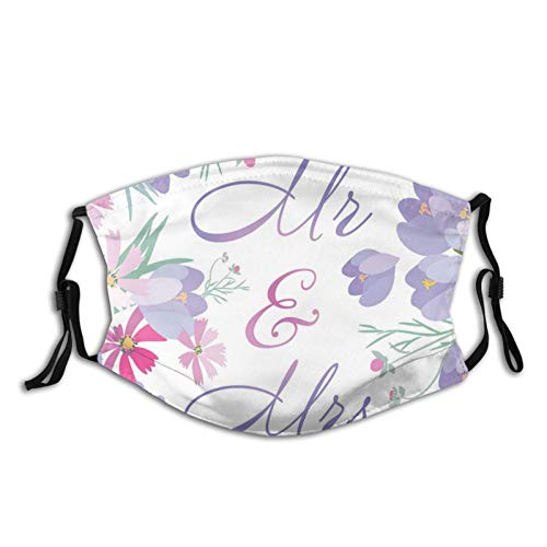 Women Men Multifunctional Half Face Bandana Reusable 3D Print Breathable Dust Protective Face Covering,Colorful Blossoming Spring Flowers With Mr Mrs Quote Marriage Themed Illustration