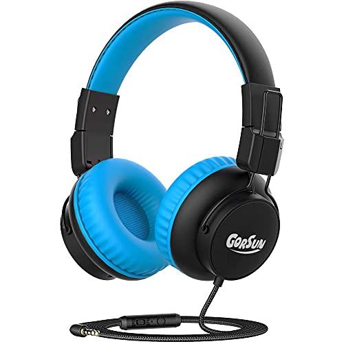 Auriculares estéreo con cable de 3,5 mm con micrófono, plegables, ligeros, ajustables en la oreja con micrófono para teléfonos móviles iPad, computadora MP3/4 Kindle Airplane School (azul)