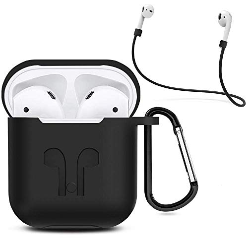 AirPods Case, NYKKOLA 3 in 1 AirPods Accessories Set Protective Silicone Cover and Skin Compatible Apple AirPods Charging Case with Keychain/Anti-Loss Strap (Black)