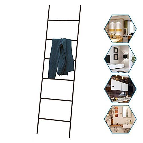 IUYJVR Escalera de Manta de Metal, toallero de Escalera, estantes para Toallas, Soporte de exhibición de Bufandas, Soporte para Secado de Ropa Inclinado a la Pared, 6 Niveles, Altura 170 cm Negro