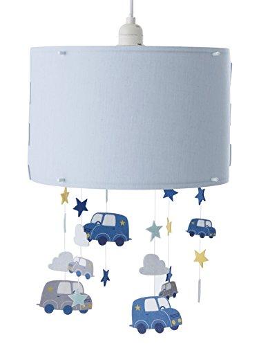 vertbaudet Lampenschirm, Deckenleuchte Wolken und Autos blau mittel glatt mit Ornament Unica