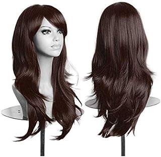 شعر مستعار طويل بني للنساء