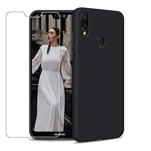 Funda Huawei P20 Lite + Protector de Pantalla de Vidrio Templado, Carcasa Ultra Fino Suave Flexible Silicona Colores del Caramelo Protectora Caso Anti-rasguños Back Case - Negro