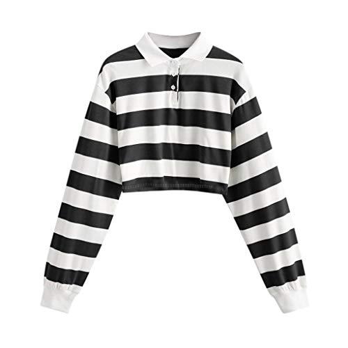 Julhold Camisa para mujer con botones de rayas arcoíris de manga larga, sudadera con cuello de polo y camiseta para reducir la edad (negro, M)