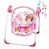 Electric Baby Swing,Comfort Rocking Chair with Intelligent Music Vibration Box,Soothing Portable Swing Load Resistance: 55lb, Applicable Object: 0-36 Months for Infants.