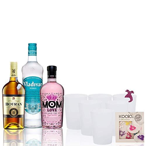 Pack Fiesta en Casa Ginebra Mom Love, Ron Botrán 8 y Vodka Vladivar - 700 ml