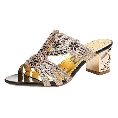 ✿✿Eaylis Damen Sandalen GroßFormatiger Strassstein Mit EIN Wort Dickem Absatz Sommer Strand Schuhe Hausschuhe Stilvoll Und Elegant