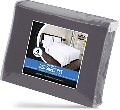 Utopia Bedding 4-Piece Queen Bed Sheets Set (Grey)