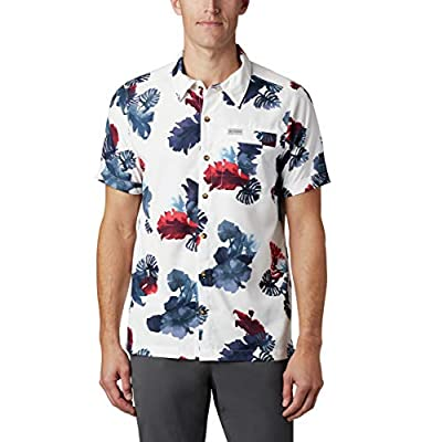 Columbia Men's Outdoor Elements Short Sleeve Shirt Print Shirt, White Tropical, Medium