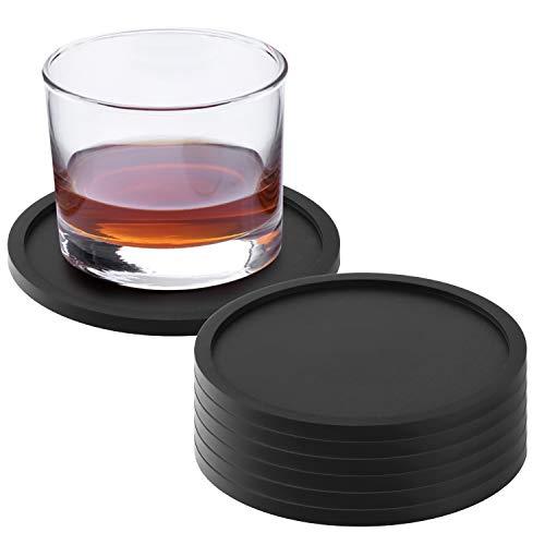 Silikon-Untersetzer 8er-Set, Cup Pad Mat Schwarz Rutschfeste runde weiche Untersetzer für Kaffeetassen, Becher, Weinglas, Flasche, Teetassen