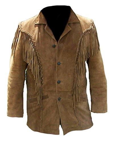 Classyak Men Western Cowboy Suede Fringed Jacket Large