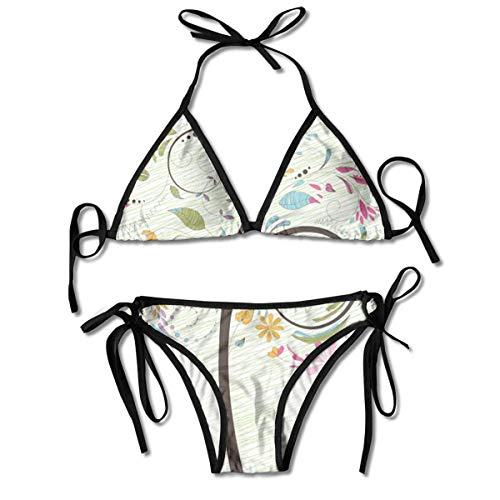 Sistemas del Bikini para Mujer Impresos árbol de la Primavera, Traje de baño de la Playa del Traje de baño del triángulo Negro