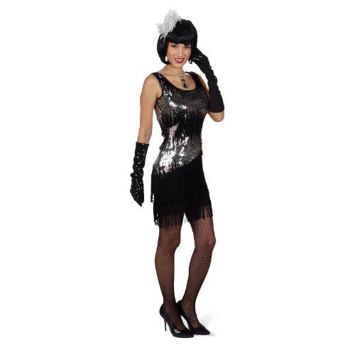 Pailletten Kleid Liza Schwarz Gr. 40 42 - Tolles Kostüm im Stil der 20er und 30er Jahre