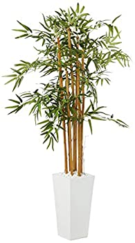 Nearly Natural 5812 5' Bamboo Artificial Tree in White Tower Planter Green