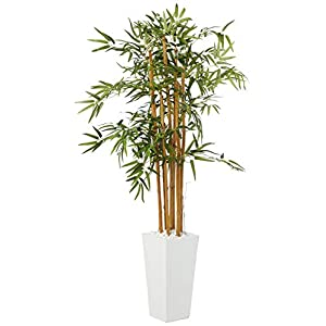 Nearly Natural 5812 5' Bamboo Artificial Tree in White Tower Planter, Green