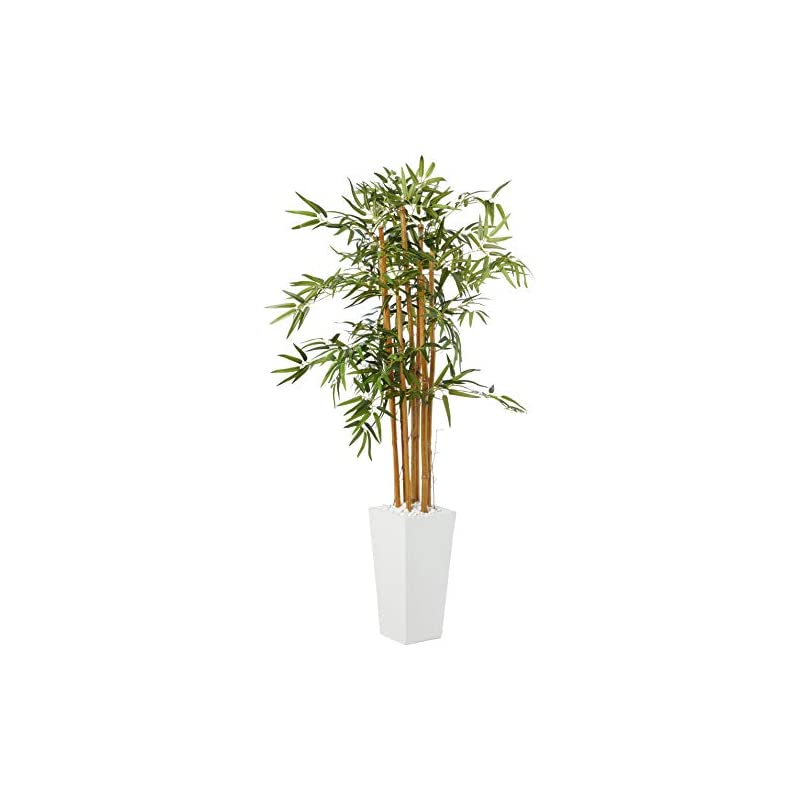 silk flower arrangements nearly natural 5812 5' bamboo artificial tree in white tower planter, green