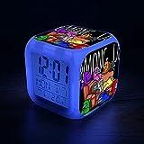 Among Us Games2 Despertador Niños - Despertador Digital Led Fácil de Configurar Relojes de Cubo Luz Nocturna Gran Pantalla Reloj de Dormitorio Adulto Chico Chica Regalos