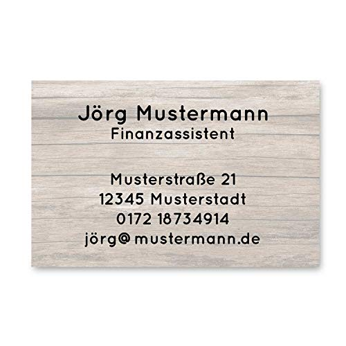 250 Visitenkarten | Holz Design | 350g hochwertiger Qualitätsdruck matt | 85 x 55 mm | Premium Qualität | beschreibbar | Visitenkarte