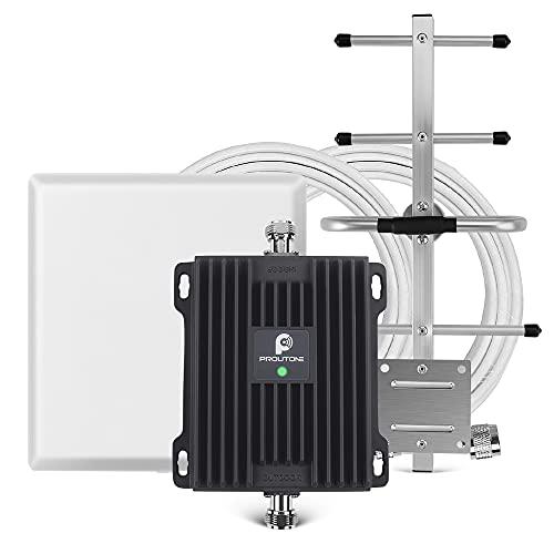 Proutone Amplificador Señal Móvil gsm 3G 900MHz Mejorar Llamadas Banda 8 para Movistar Orange Vodafone Repetidor de Cobertura Móvil con Panel y Yagi Antena Kit