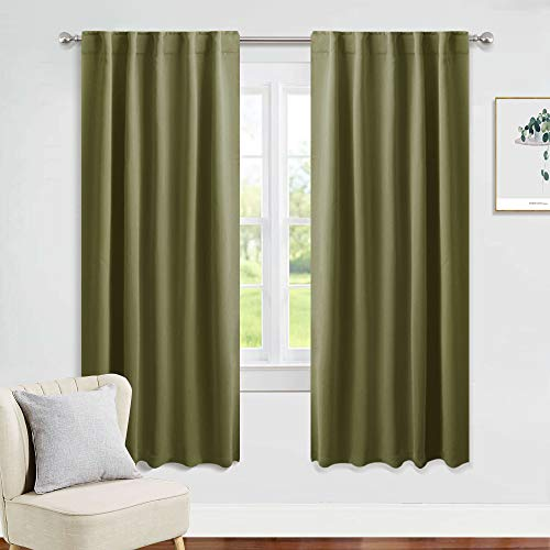 PONY DANCE Blackout Curtains 72 Long - 42 Inches Wide, Olive Green Solid Rod Pocket & Back Tab Thermal Panels for Xmas Home Decor Window Covering Energy Efficient Drapes for Bedroom, 2 Pieces