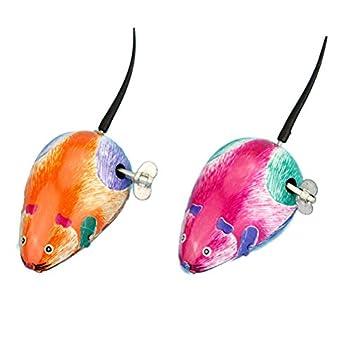 STOBOK Jouets Souris Mécanique Mouse Petits Animal Jouet pour Enfants Chat (Couleur Aléatoire)