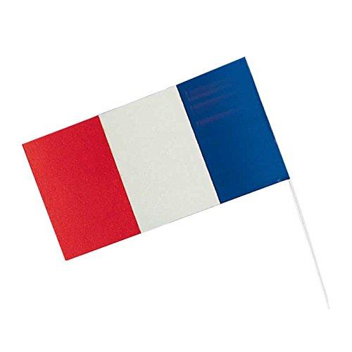 Fähnchen Frankreich 12x23 cm, 40cm-Stab, 10er-Pack