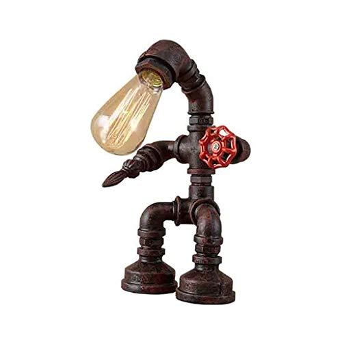 YXX Luz Retra de la luz de la Noche Luz Retra Industrial Hierro Tubos de Agua Robot Tabla Lámpara Vintage Escritorio Lámpara Steampunk Desktop Light, no Incluido Bulbo
