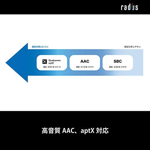 ラディウスradiusHP-V100BTワイヤレスイヤホン:Bluetooth対応ブルートゥースNeVOLTシリーズ重低音モデルaptXAAC対応IPX6防水イヤホンHP-V100BTK(ブラック)