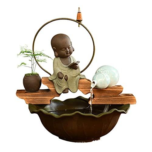 Oficina en casa decoración de escritorio Incensario de reflujo Soporte de torre Fuente decorativa de cerámica Sala de estar Fuente decorativa de oficina Humidificador interior Fuente de escritorio Zen