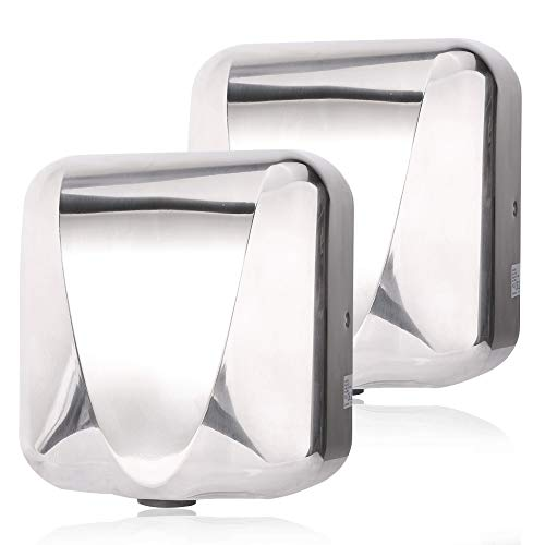 VALENS Hand Dryer Commercial for Bathroom, Automatic Hand Dryers 224 mph with HEPA Filter, High Speed 1800W, Hot or Cold Air Available, Polished Silver (2 pcs)